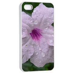 Pink Purple Flowers Apple iPhone 4/4s Seamless Case (White)