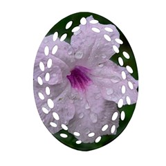Pink Purple Flowers Oval Filigree Ornament (2 Side)