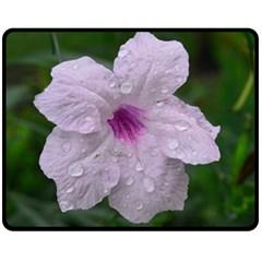 Pink Purple Flowers Double Sided Fleece Blanket (Medium)