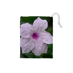 Pink Purple Flowers Drawstring Pouches (small)