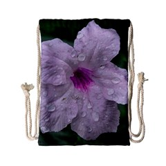 Pink Purple Flowers Drawstring Bag (Small)