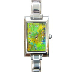Abstract In Blue, Green, Copper, And Gold Rectangle Italian Charm Watches
