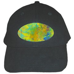 Abstract in Blue, Green, Copper, and Gold Black Cap