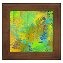 Abstract in Blue, Green, Copper, and Gold Framed Tiles