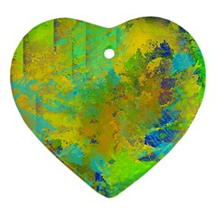 Abstract in Blue, Green, Copper, and Gold Ornament (Heart)