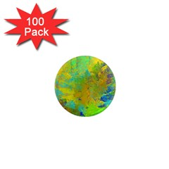 Abstract In Blue, Green, Copper, And Gold 1  Mini Magnets (100 Pack)