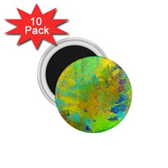 Abstract In Blue, Green, Copper, And Gold 1 75  Magnets (10 Pack)