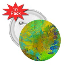 Abstract in Blue, Green, Copper, and Gold 2.25  Buttons (10 pack)