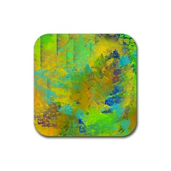 Abstract in Blue, Green, Copper, and Gold Rubber Coaster (Square)