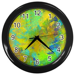 Abstract In Blue, Green, Copper, And Gold Wall Clocks (black)