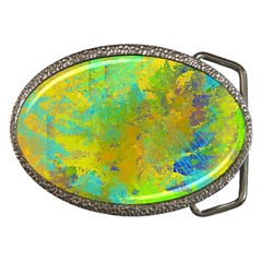 Abstract In Blue, Green, Copper, And Gold Belt Buckles