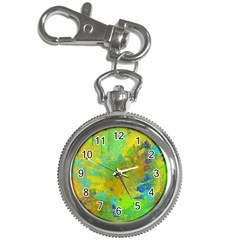 Abstract in Blue, Green, Copper, and Gold Key Chain Watches