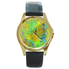 Abstract In Blue, Green, Copper, And Gold Round Gold Metal Watches