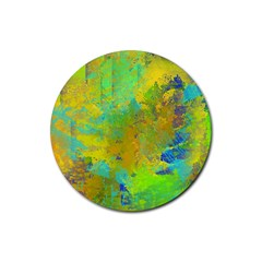 Abstract In Blue, Green, Copper, And Gold Rubber Round Coaster (4 Pack)