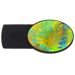 Abstract in Blue, Green, Copper, and Gold USB Flash Drive Oval (1 GB)