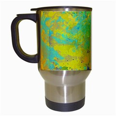 Abstract in Blue, Green, Copper, and Gold Travel Mugs (White)