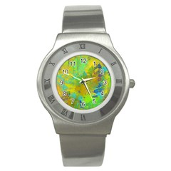 Abstract in Blue, Green, Copper, and Gold Stainless Steel Watches