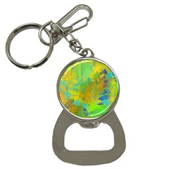 Abstract In Blue, Green, Copper, And Gold Bottle Opener Key Chains