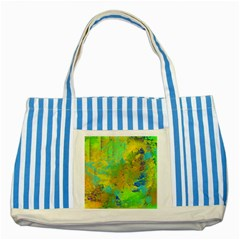 Abstract in Blue, Green, Copper, and Gold Striped Blue Tote Bag