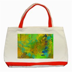 Abstract In Blue, Green, Copper, And Gold Classic Tote Bag (red)
