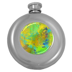 Abstract In Blue, Green, Copper, And Gold Round Hip Flask (5 Oz)
