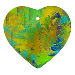 Abstract in Blue, Green, Copper, and Gold Heart Ornament (2 Sides)