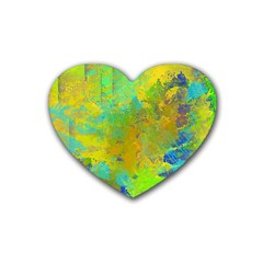 Abstract In Blue, Green, Copper, And Gold Rubber Coaster (heart)