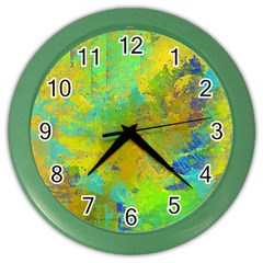 Abstract In Blue, Green, Copper, And Gold Color Wall Clocks
