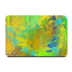 Abstract In Blue, Green, Copper, And Gold Small Doormat