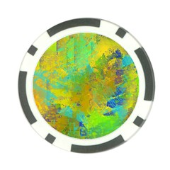 Abstract in Blue, Green, Copper, and Gold Poker Chip Card Guards