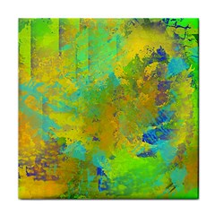 Abstract in Blue, Green, Copper, and Gold Face Towel