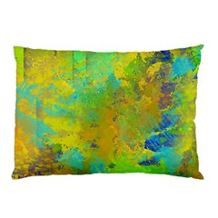 Abstract in Blue, Green, Copper, and Gold Pillow Cases