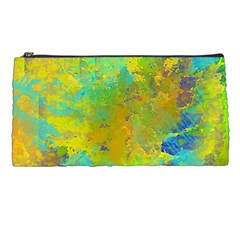 Abstract in Blue, Green, Copper, and Gold Pencil Cases