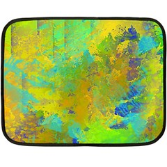 Abstract in Blue, Green, Copper, and Gold Double Sided Fleece Blanket (Mini)