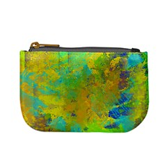 Abstract In Blue, Green, Copper, And Gold Mini Coin Purses