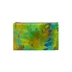 Abstract in Blue, Green, Copper, and Gold Cosmetic Bag (Small)