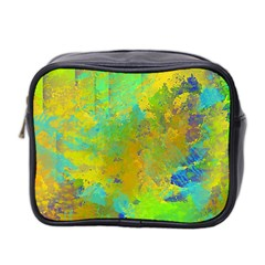 Abstract in Blue, Green, Copper, and Gold Mini Toiletries Bag 2-Side