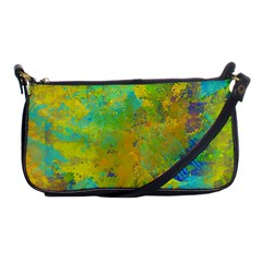 Abstract In Blue, Green, Copper, And Gold Shoulder Clutch Bags