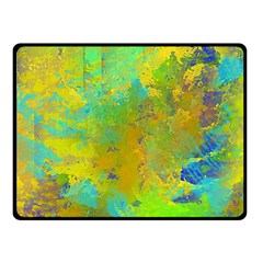 Abstract in Blue, Green, Copper, and Gold Fleece Blanket (Small)