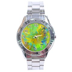 Abstract in Blue, Green, Copper, and Gold Stainless Steel Men s Watch