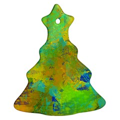 Abstract In Blue, Green, Copper, And Gold Christmas Tree Ornament (2 Sides)