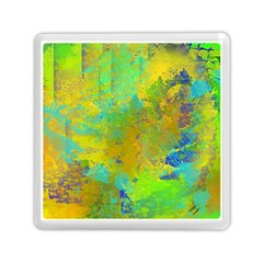 Abstract in Blue, Green, Copper, and Gold Memory Card Reader (Square)
