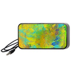 Abstract In Blue, Green, Copper, And Gold Portable Speaker (black)