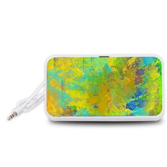 Abstract in Blue, Green, Copper, and Gold Portable Speaker (White)