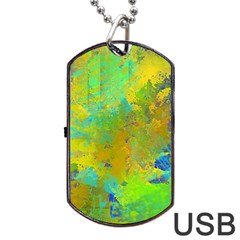 Abstract in Blue, Green, Copper, and Gold Dog Tag USB Flash (Two Sides)