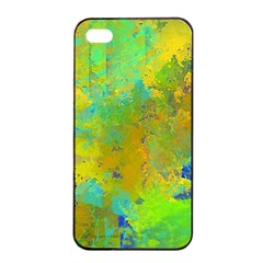 Abstract in Blue, Green, Copper, and Gold Apple iPhone 4/4s Seamless Case (Black)