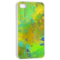 Abstract In Blue, Green, Copper, And Gold Apple Iphone 4/4s Seamless Case (white)