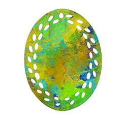 Abstract in Blue, Green, Copper, and Gold Oval Filigree Ornament (2-Side)