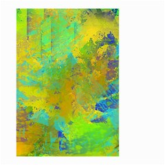 Abstract in Blue, Green, Copper, and Gold Small Garden Flag (Two Sides)