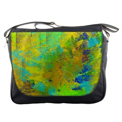 Abstract In Blue, Green, Copper, And Gold Messenger Bags